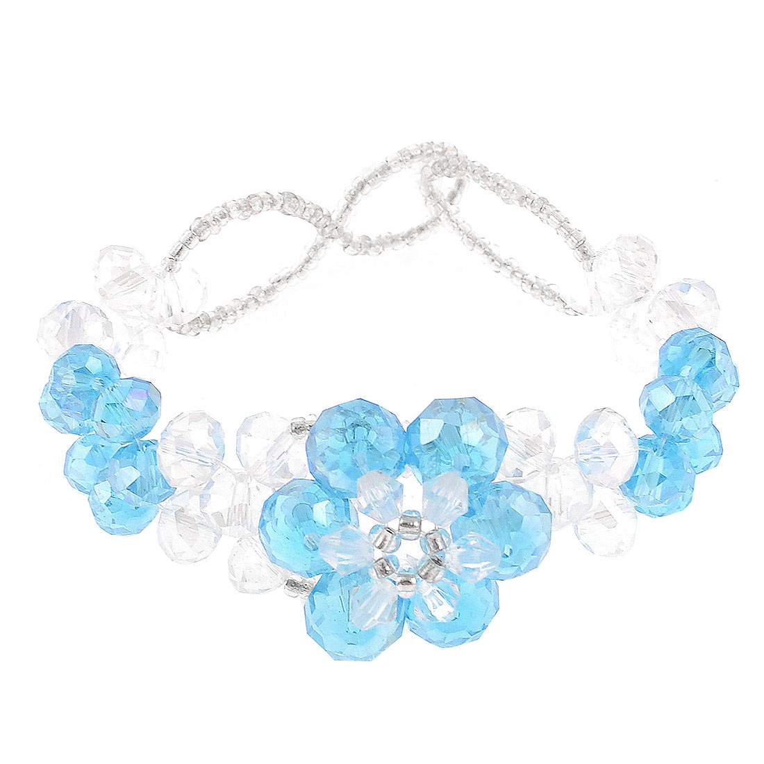 Lady Faceted Plastic Shiny Beaded Crystal Bracelet Ornament Clear Sky Blue