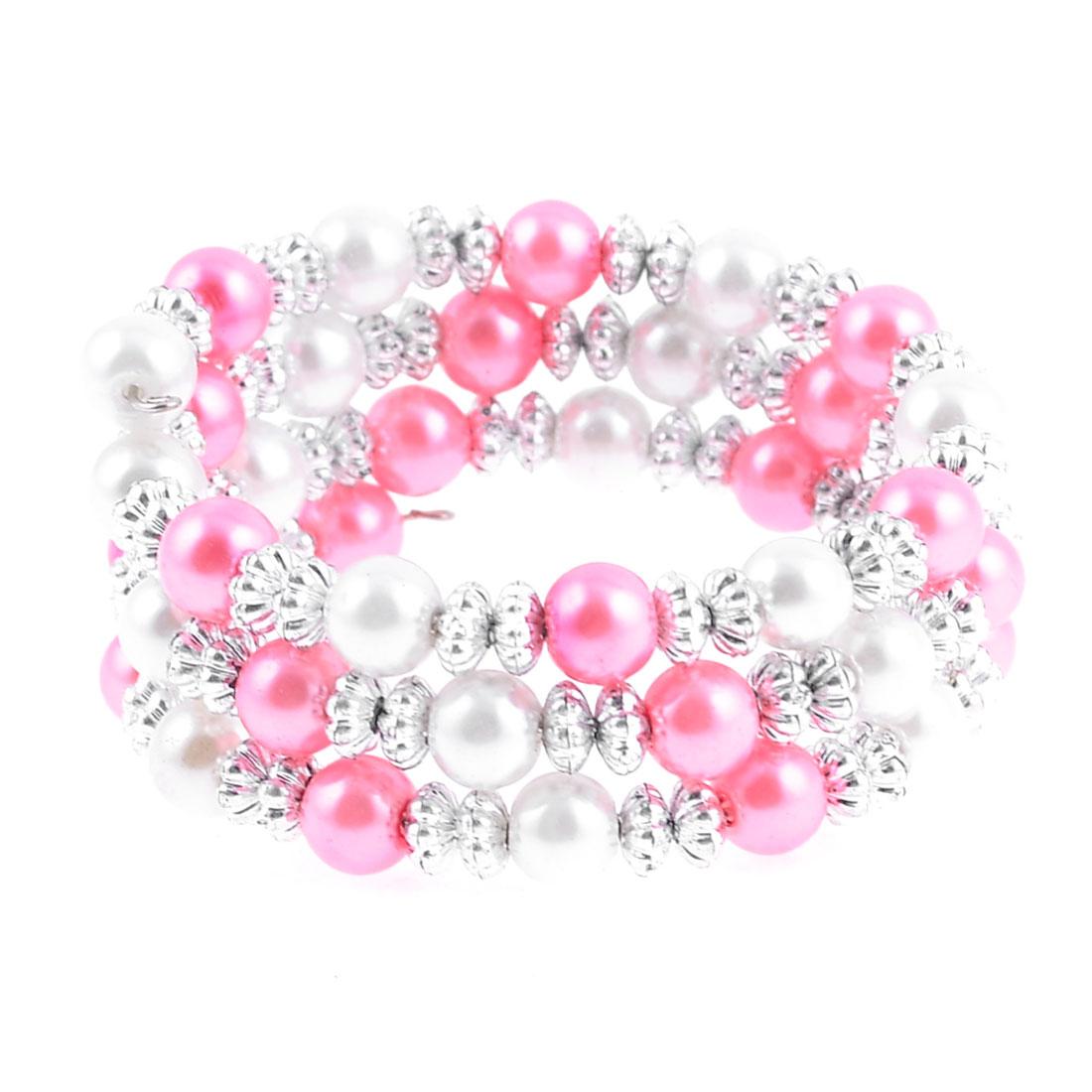 Multirow White Pink Faux Pearl Pumpkin Shape Beads Bracelet