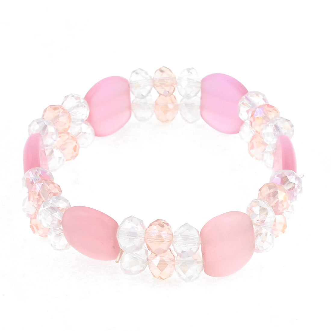 Stretchy Double Layers Beaded Crystal Bracelet Wrist Ornament Pink Clear