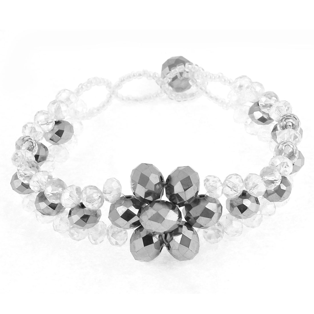 Clear Silver Tone Plastic Faceted Crystal Bracelet Gift for Friend