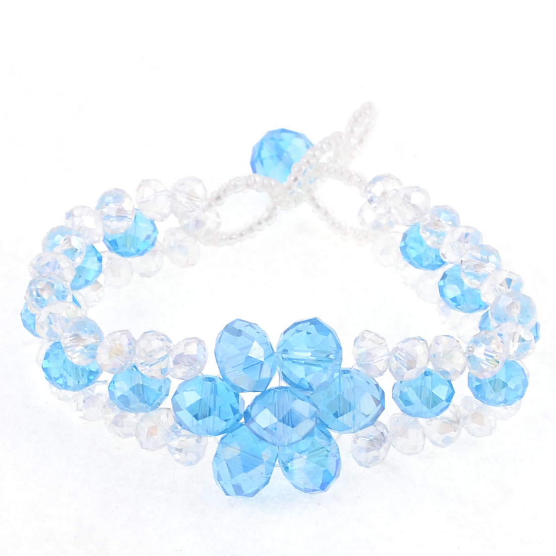 "0.6"" Width Party Occasion Sky Blue Clear 3 Layer Bracelet for Lady"