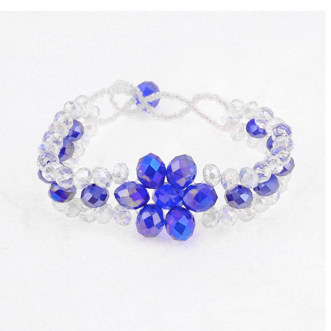 "0.2"" Dia Clear Small Facted Crystal Decor Bracelet Purple for Lady"