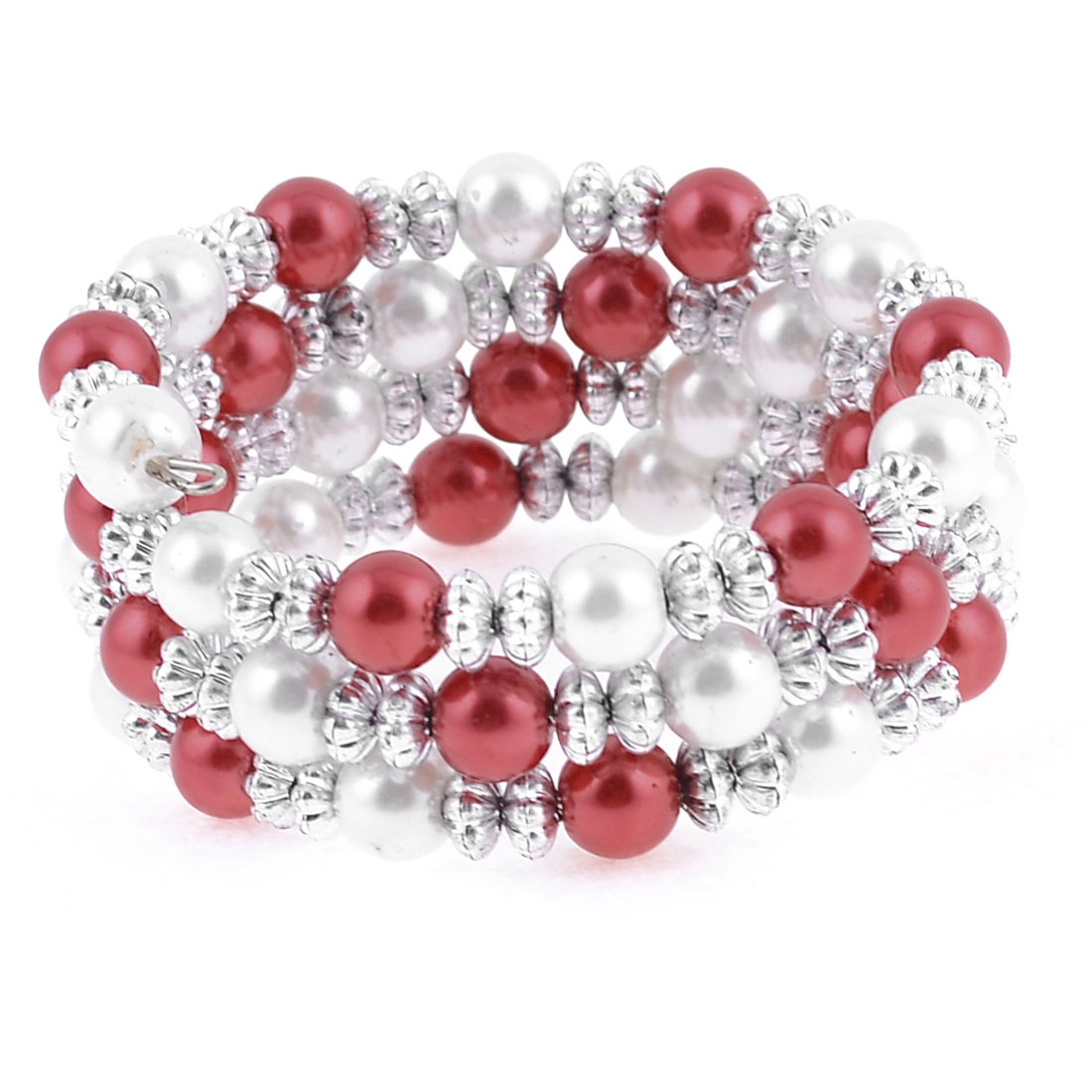 Lady Silver Tone Red White Linked Multirow Bracelet Decor