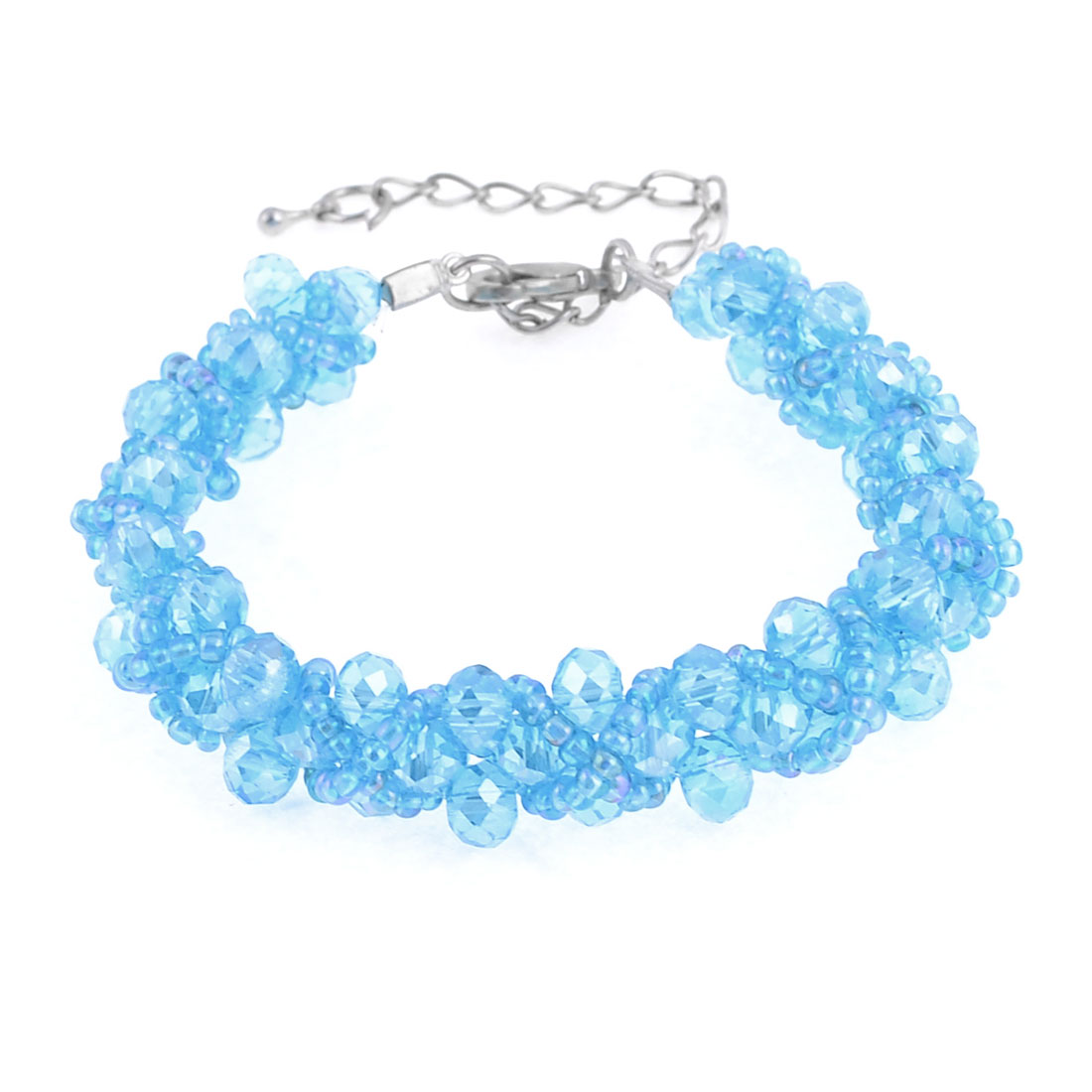 Lady Plastic Shiny Round Beaded Faceted Crystal Bracelet Sky Blue
