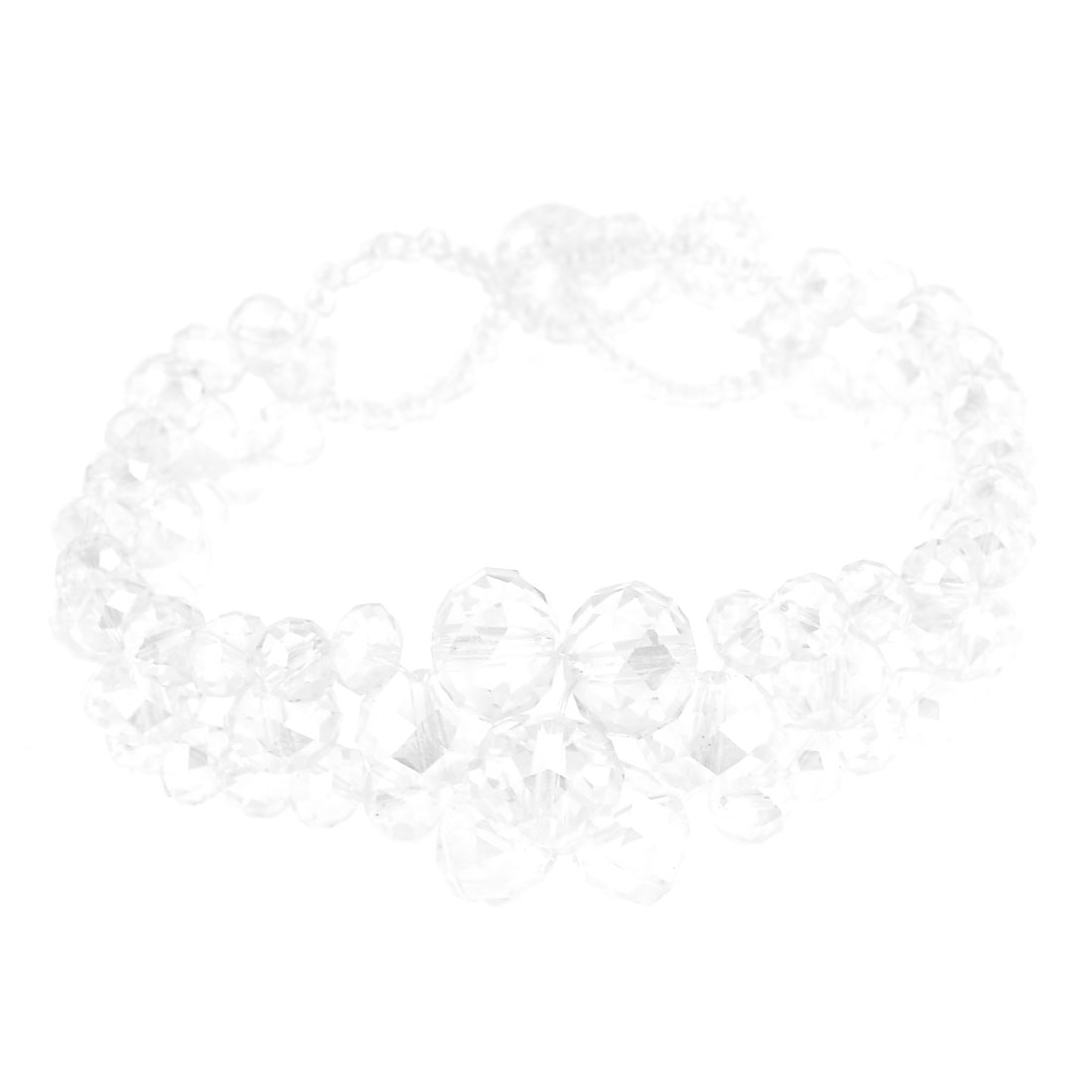 Clear Faux Faceted Crystal 3 Rows Bracelet Decoration for Woman