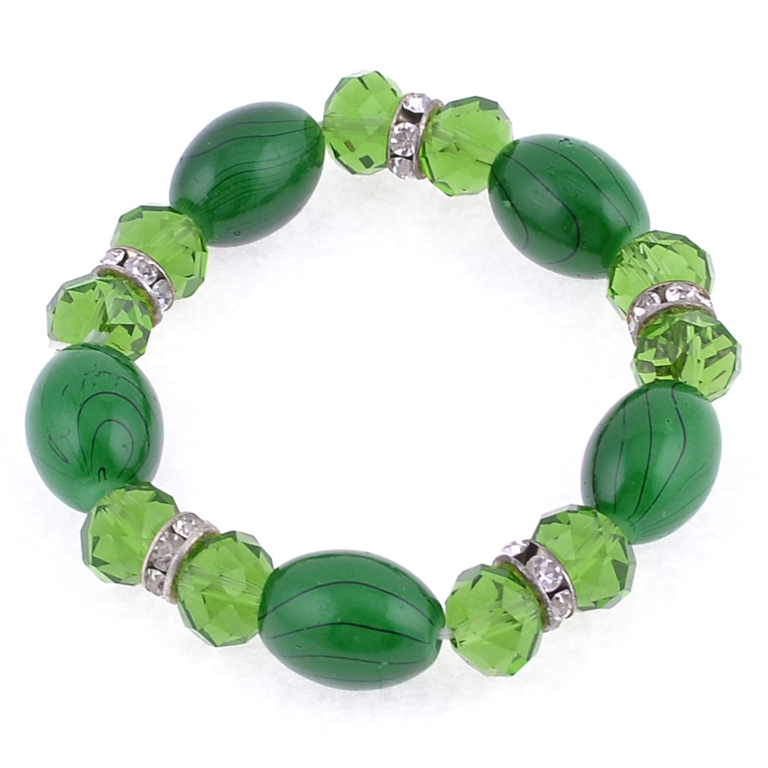 Green Plastic Crystal Small Bling Bling Rhinestones Bracelet Bangle Decor