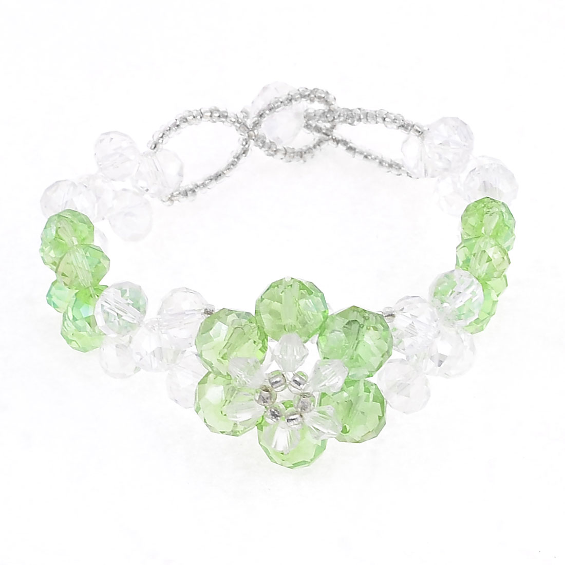 Plastic Crystal Foldable Bracelet Bangle Clear Green for Lady
