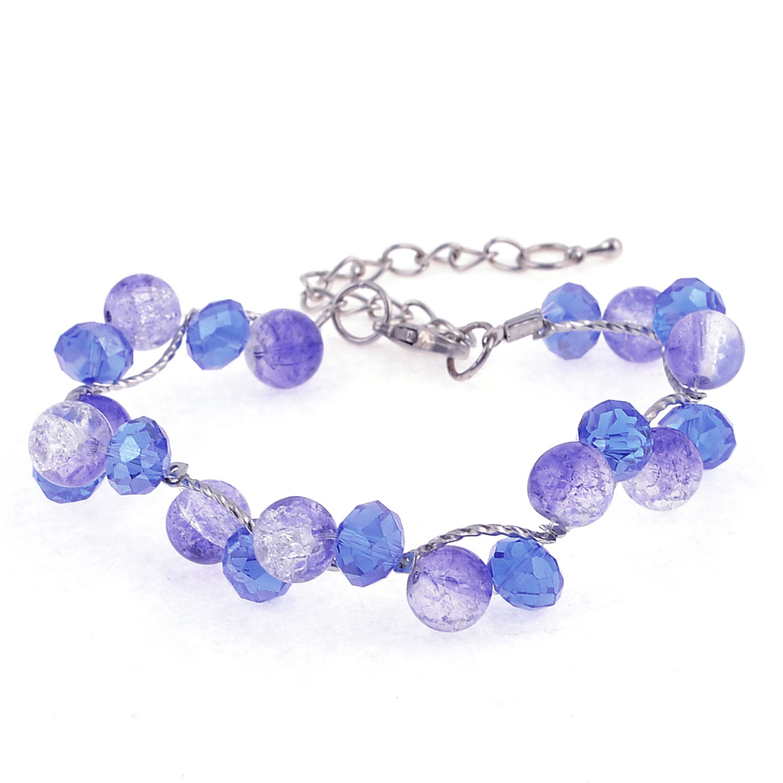 Silver Tone Metal Hook Blue Plastic Round Beads Bracelet Bangle for Lady
