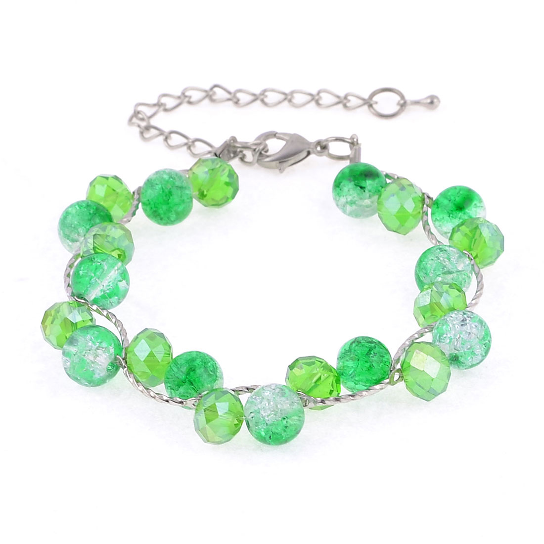Plastic Pearls Faux Shining Crystal Green Silver Tone Chain Bracelet