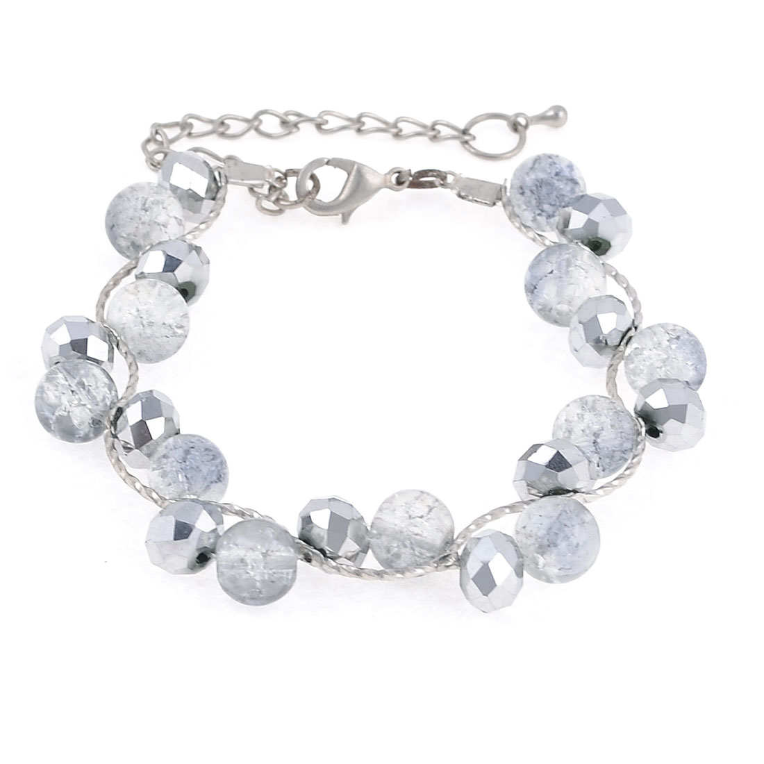 Silver Tone Metal Lobster Hook Faceted Crystal Decor Bracelet for Women