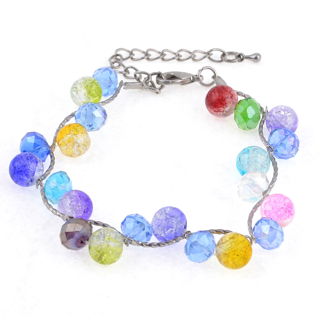 Adjustable Plastic Single Strand Colorful Beads Decor Chain Bracelet