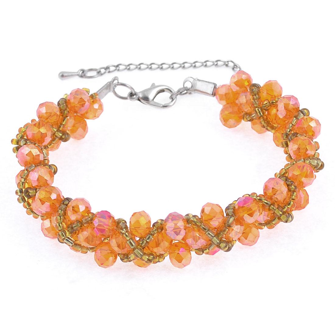 Women Orange Gold Tone Adjustable Plastic Crystal Decor Lobster Hook Bracelet