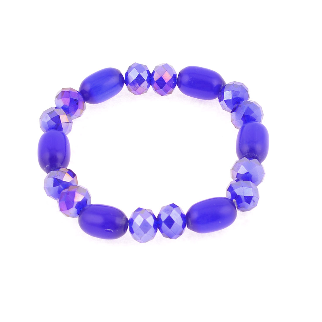Dark Blue Glitter Faceted Beads Stretchy Bracelets Bangle for Woman