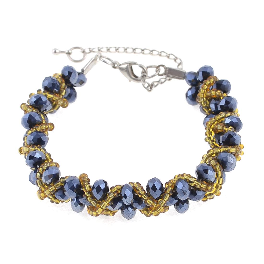 Lady Blue Gold Tone Plastic Crystal Adjustable Braided Link Bracelet Gift