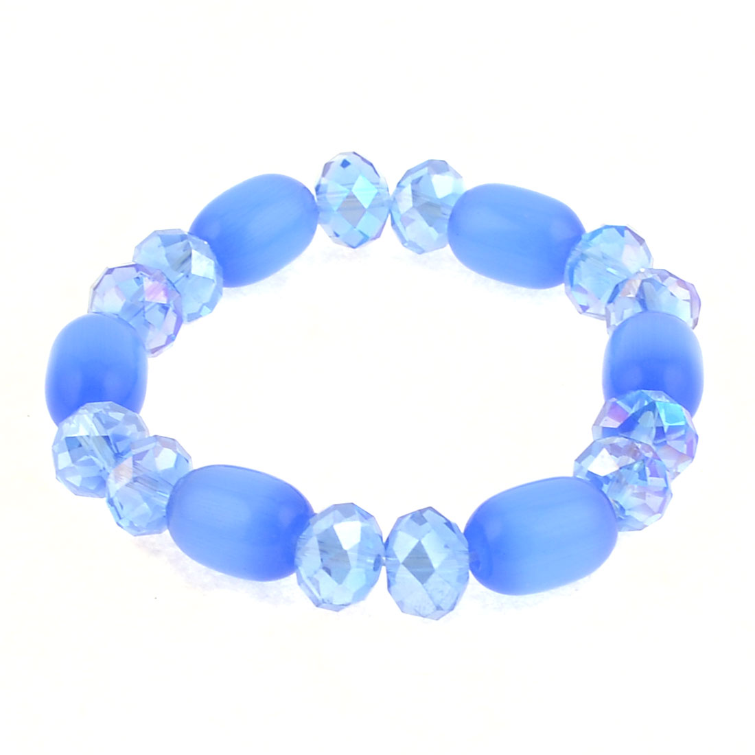Party Blue Faux Beaded Stretching Wrist Bracelet Jewelry for Women