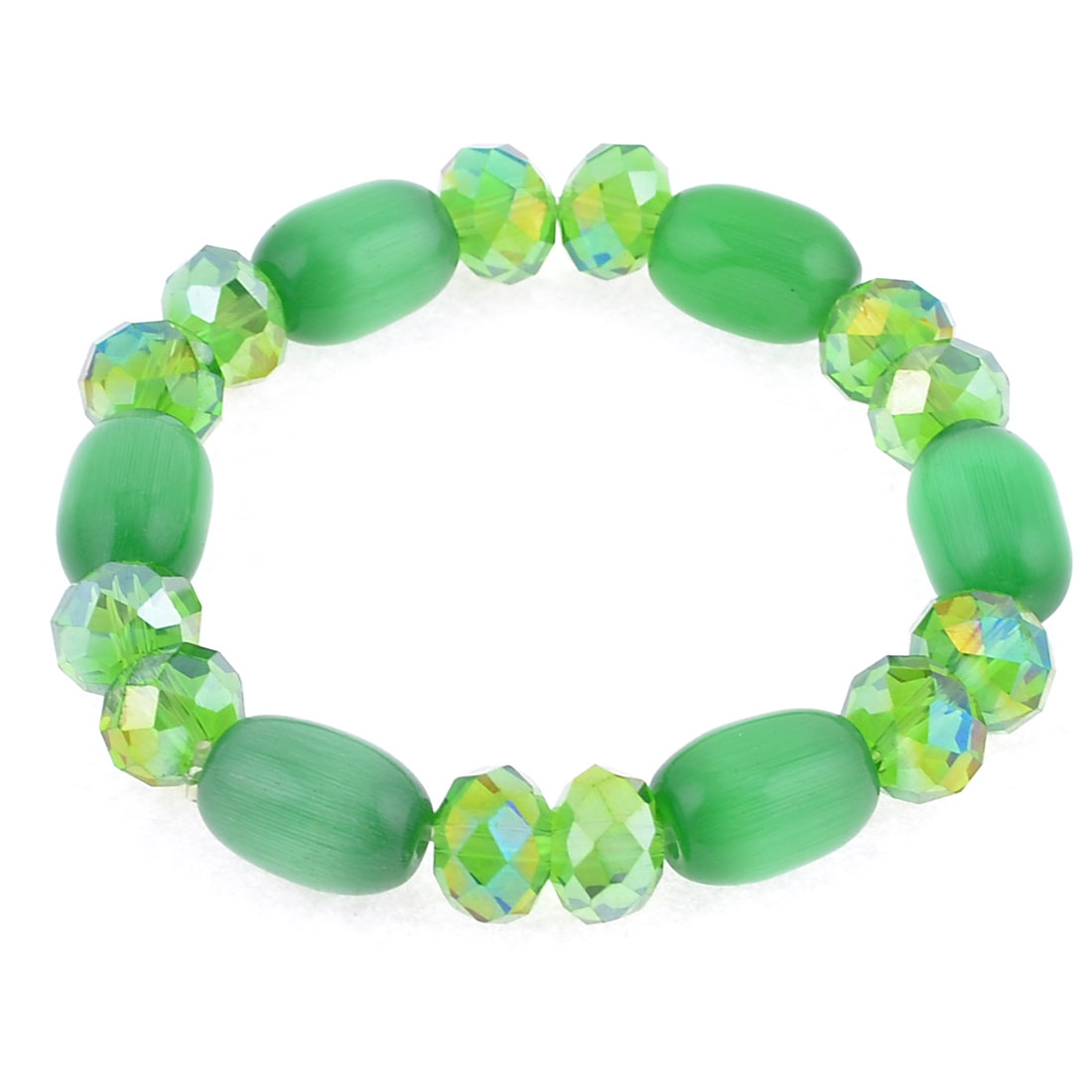 Party Green Faux Beaded Stretching Wrist Oranment Bracelet Jewelry for Women