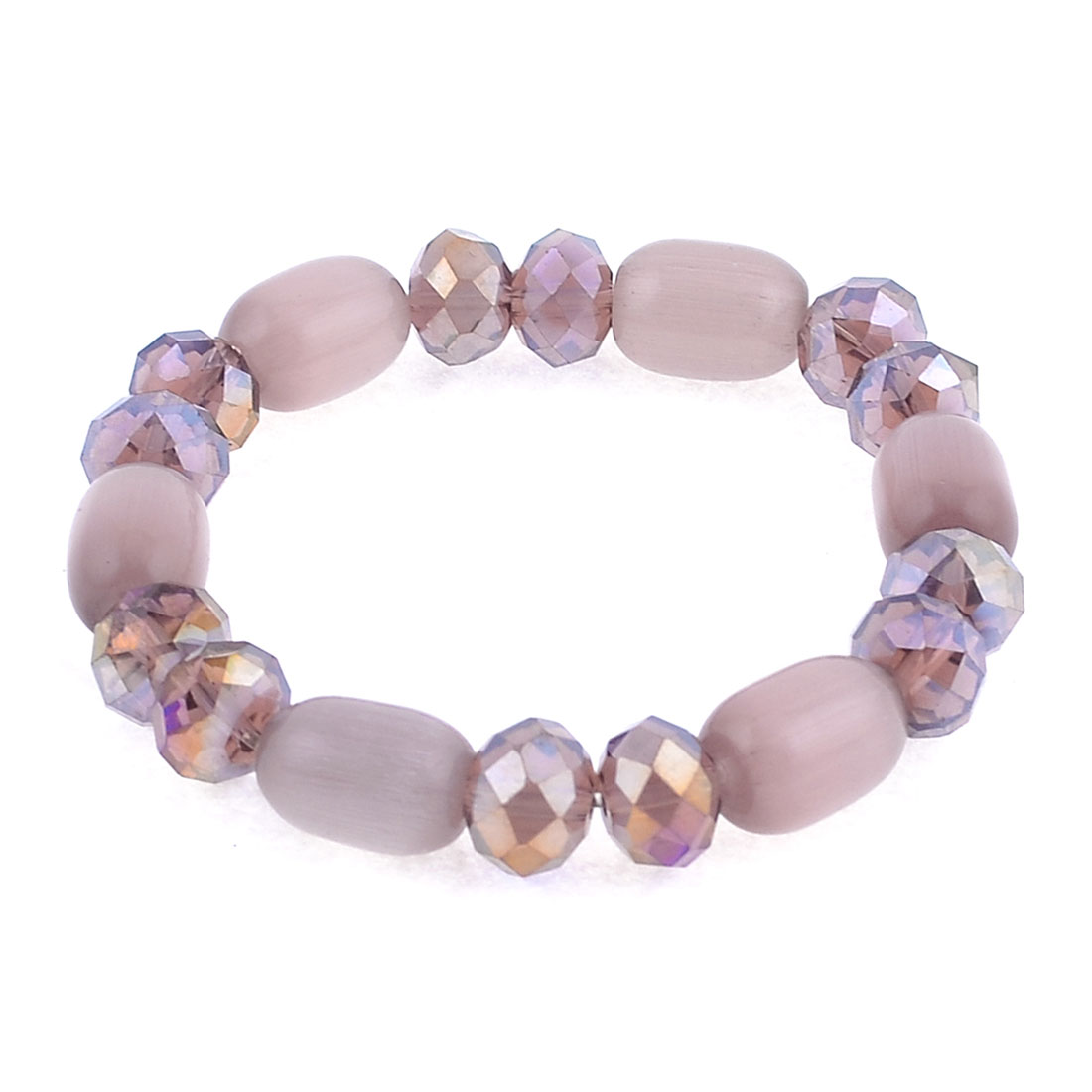 Lady Girls Plastic Crystal Oval Beaded Stretch Bracelet Bangle Light Purple