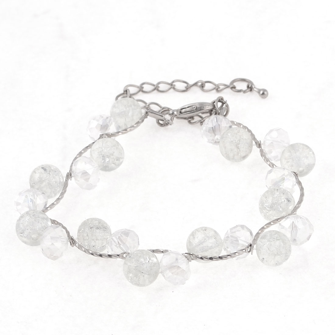 Silver Tone Adjustable Metal Link White Beads Decor Bracelet for Lady