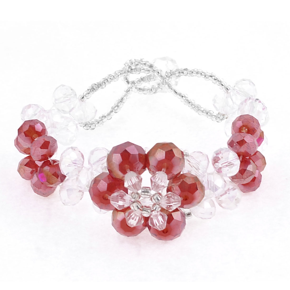 Red Flower Shaped Clear Faceted Crystal Decor Bracelet for Lady