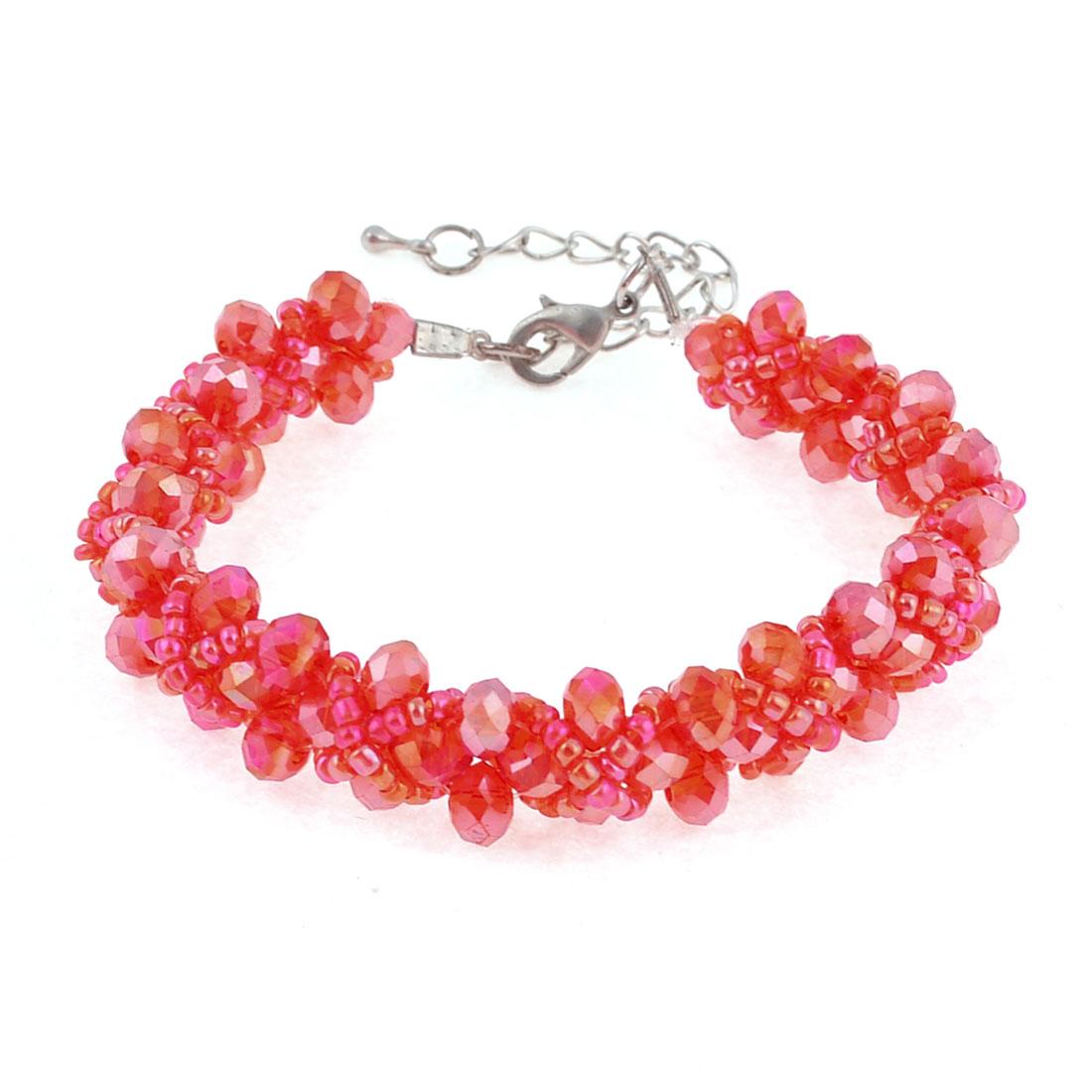 Red Plastic Adjustable Faux Crystal Decoration Link Bracelet for