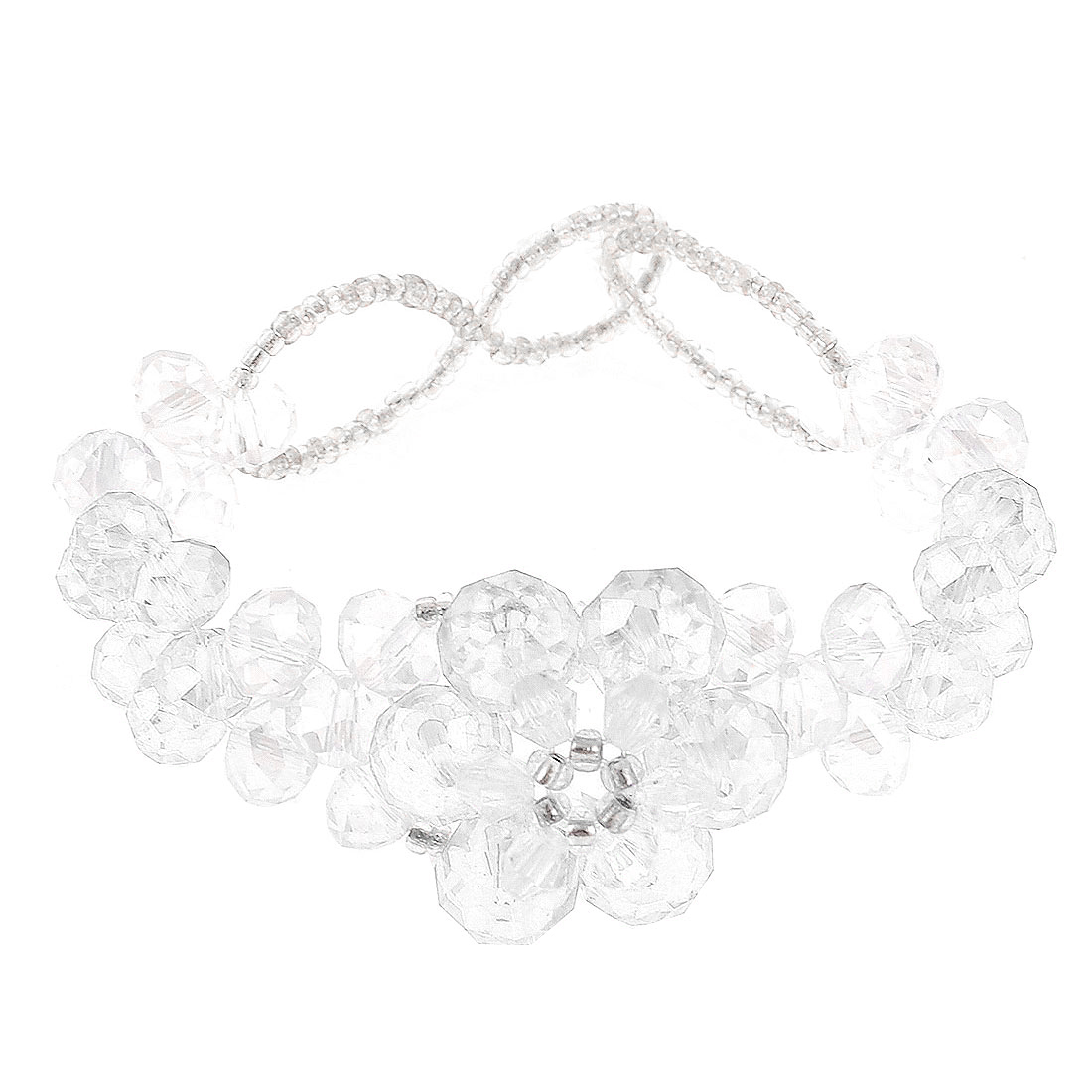 Lady Clear White Transparent Faux Faceted Crystal Decoration Bracelet