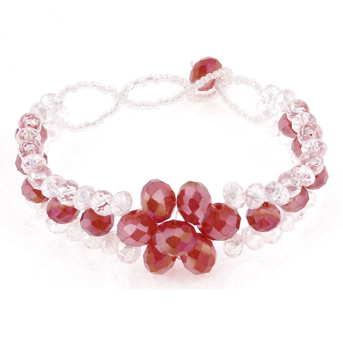 "0.6"" Width Party Red Clear Crystal 3 Layer Bracelet for Lady Girl"