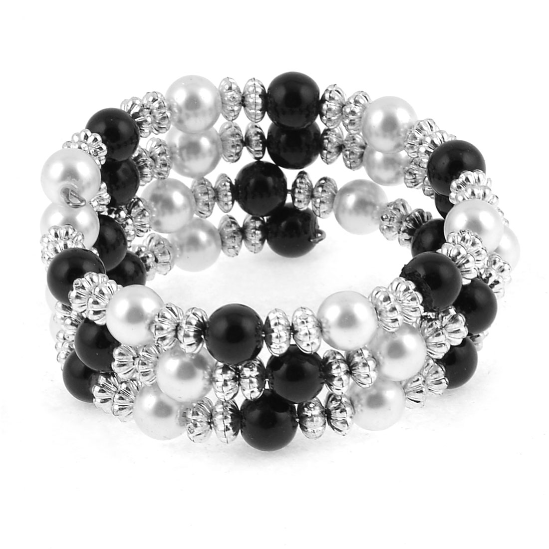 Women White Black Silver Tone Plastic Round Beads Detail Stretchy Bracelet