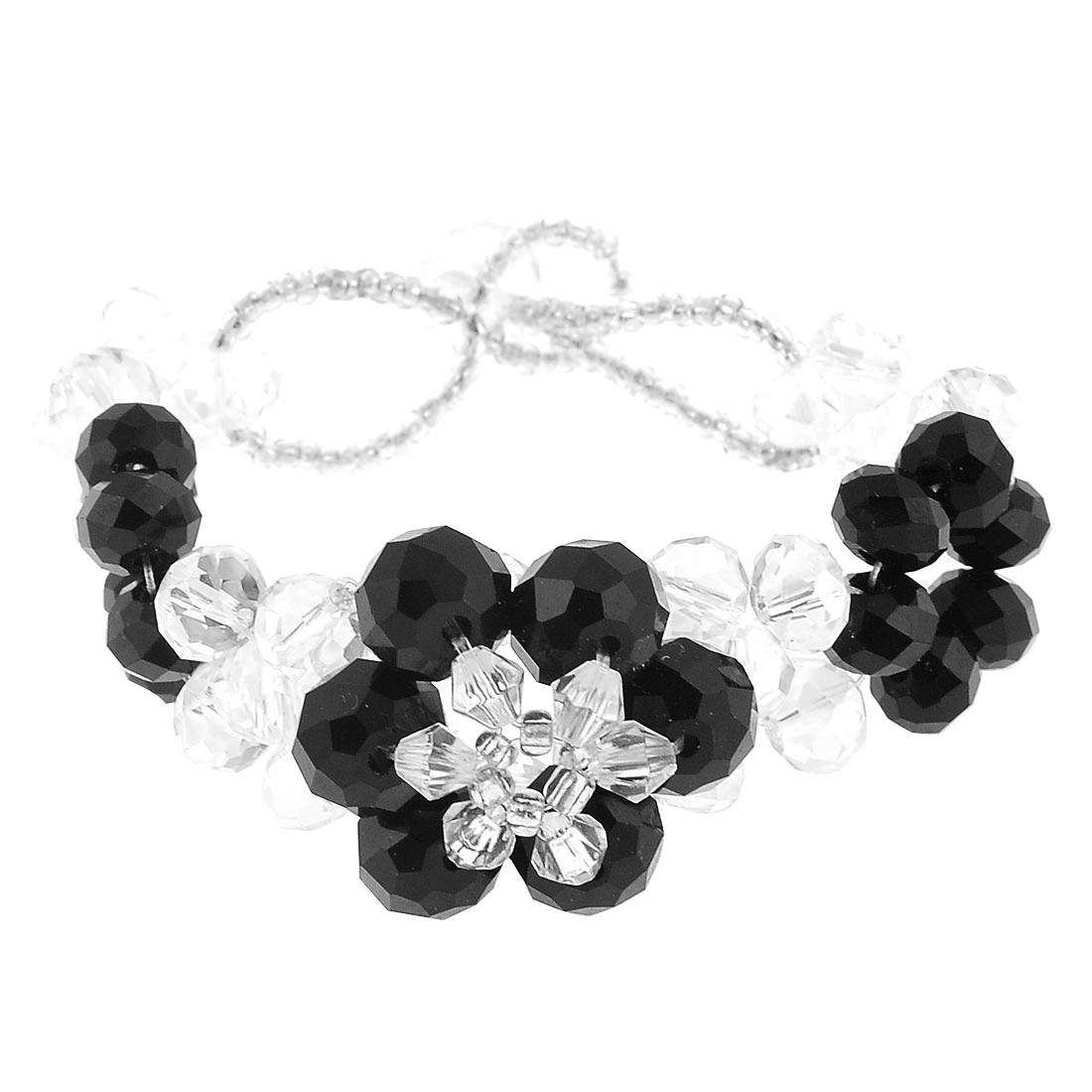 Faux Faceted Crystal Wrist Bracelet Bangle Clear Black for Women