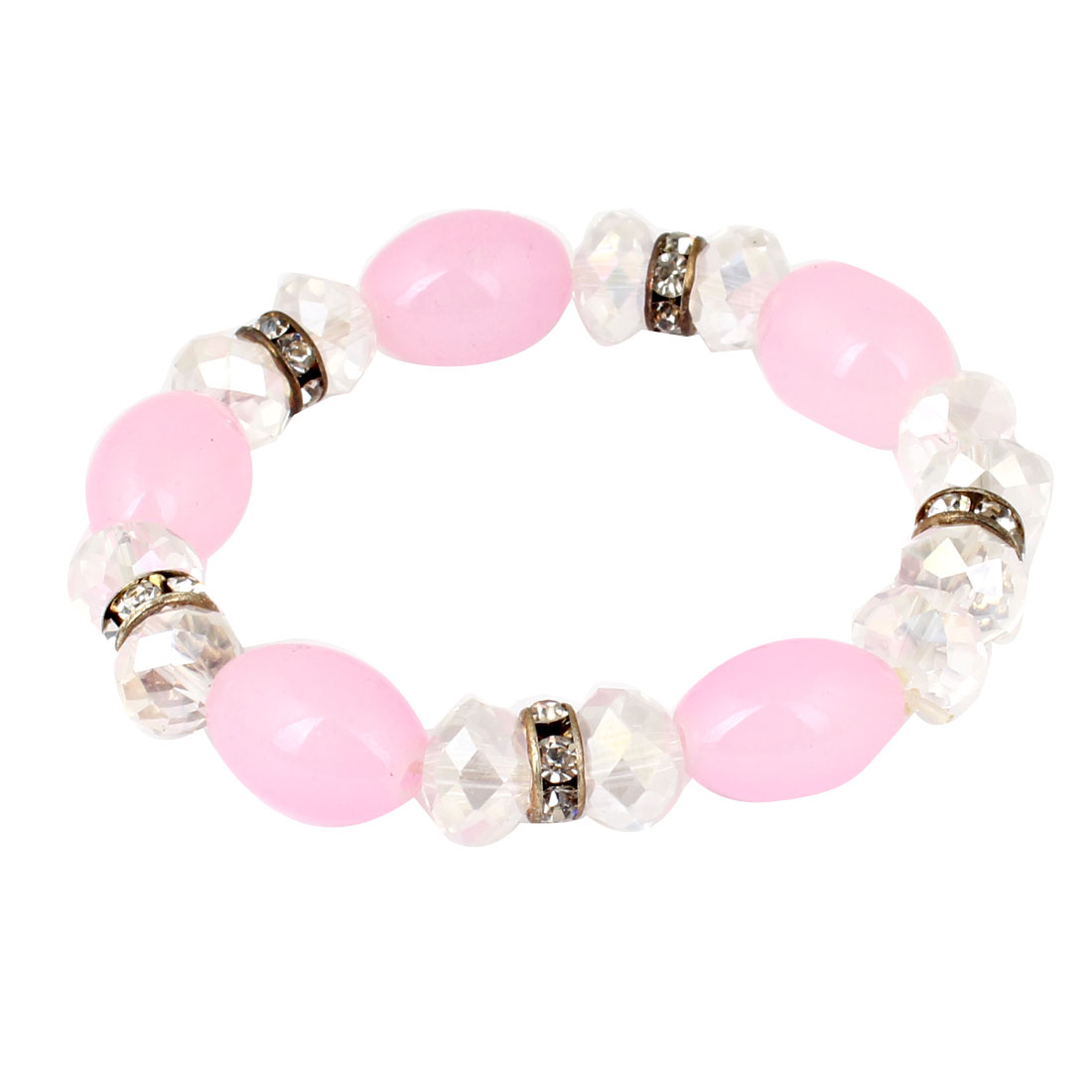 Woman Clear Oval Pink Bead Style Beads Stretch Bangle Cuff Bracelet