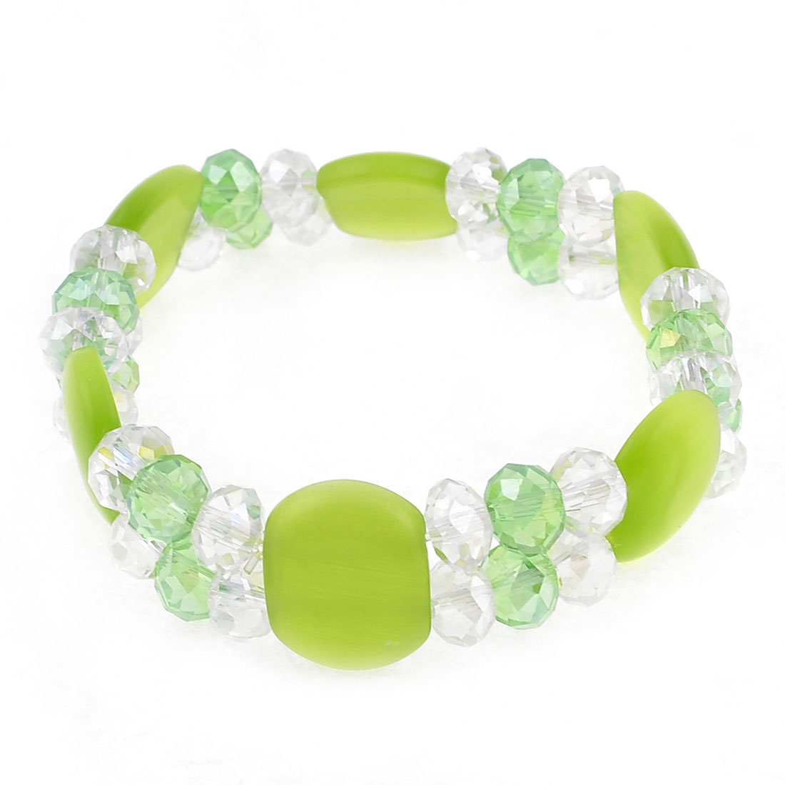 "Light Green Clear Dual Layered Rectangle Beads Crystal Bracelet 0.6"" Width"