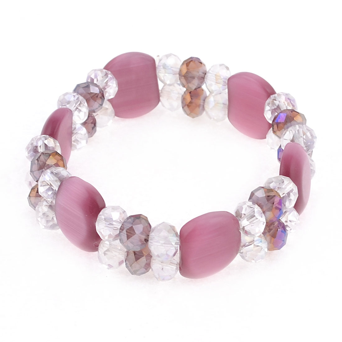 Burgundy Clear Double Layer Beaded Crystal Bracelet Wrist Ornament for Lady