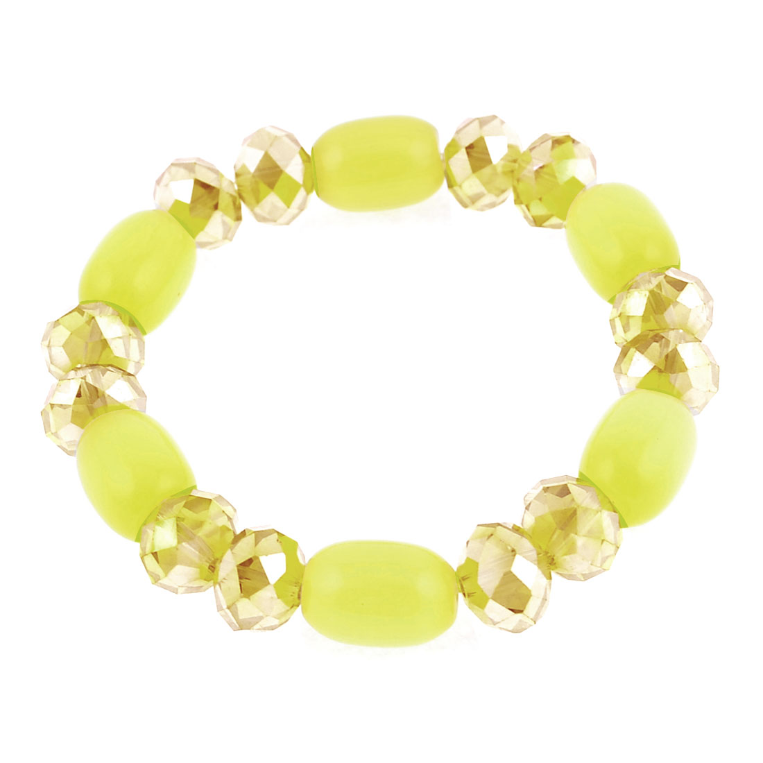6mm Dia Plastic Crystal Beads Stretchy Bracelet Bangle Yellow for Lady