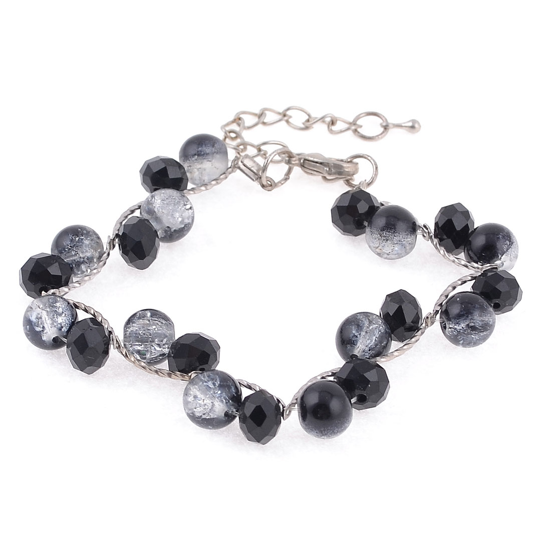Lady Simulated Plastic Beads Bracelet Bangle Silver Tone Black