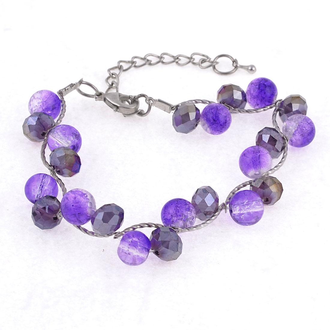Woman Purple Round Beads Silver Tone Metal Chain Bracelet Jewelry