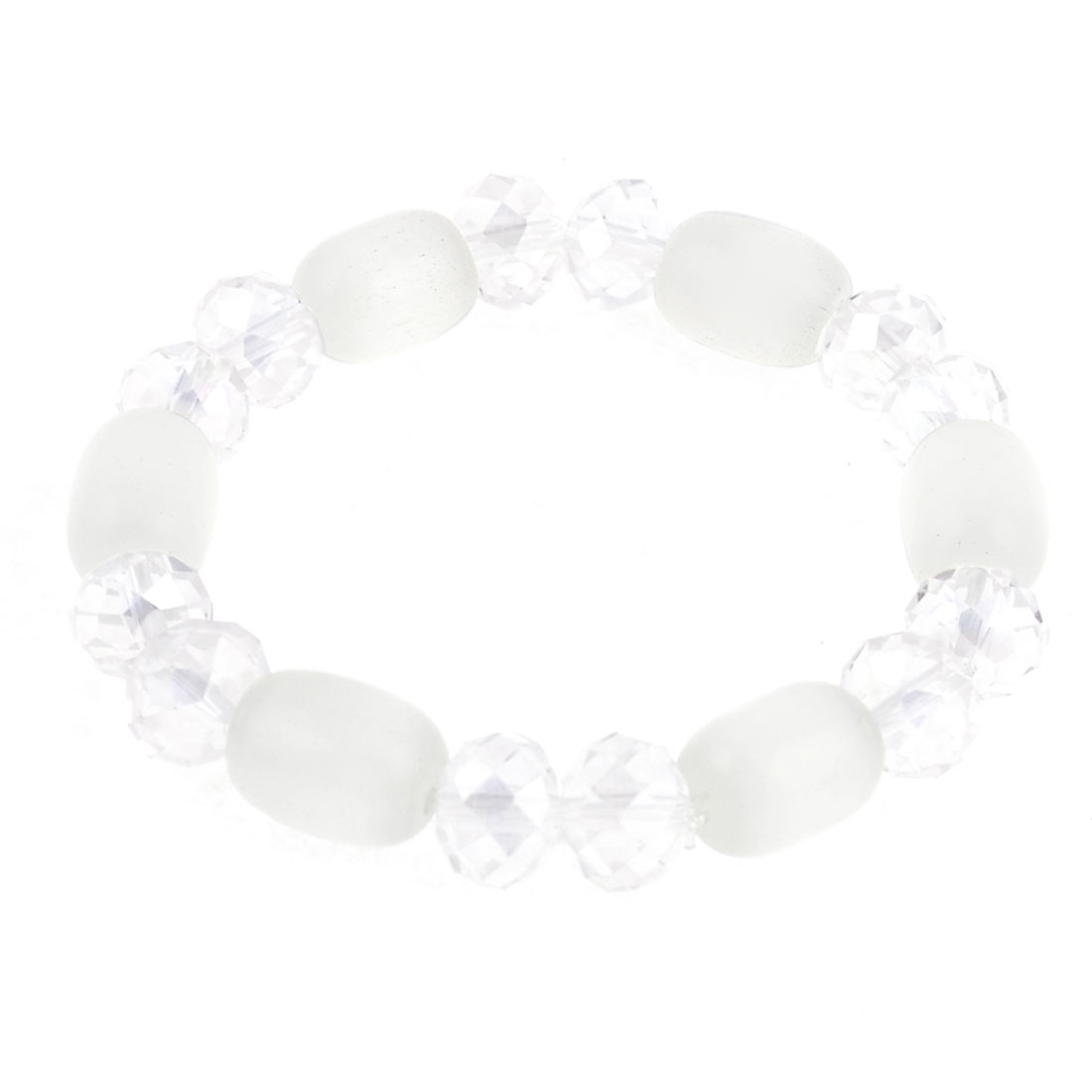 Faux Beaded Stretching Wrist Oranment Bracelet Jewelry White for Lady