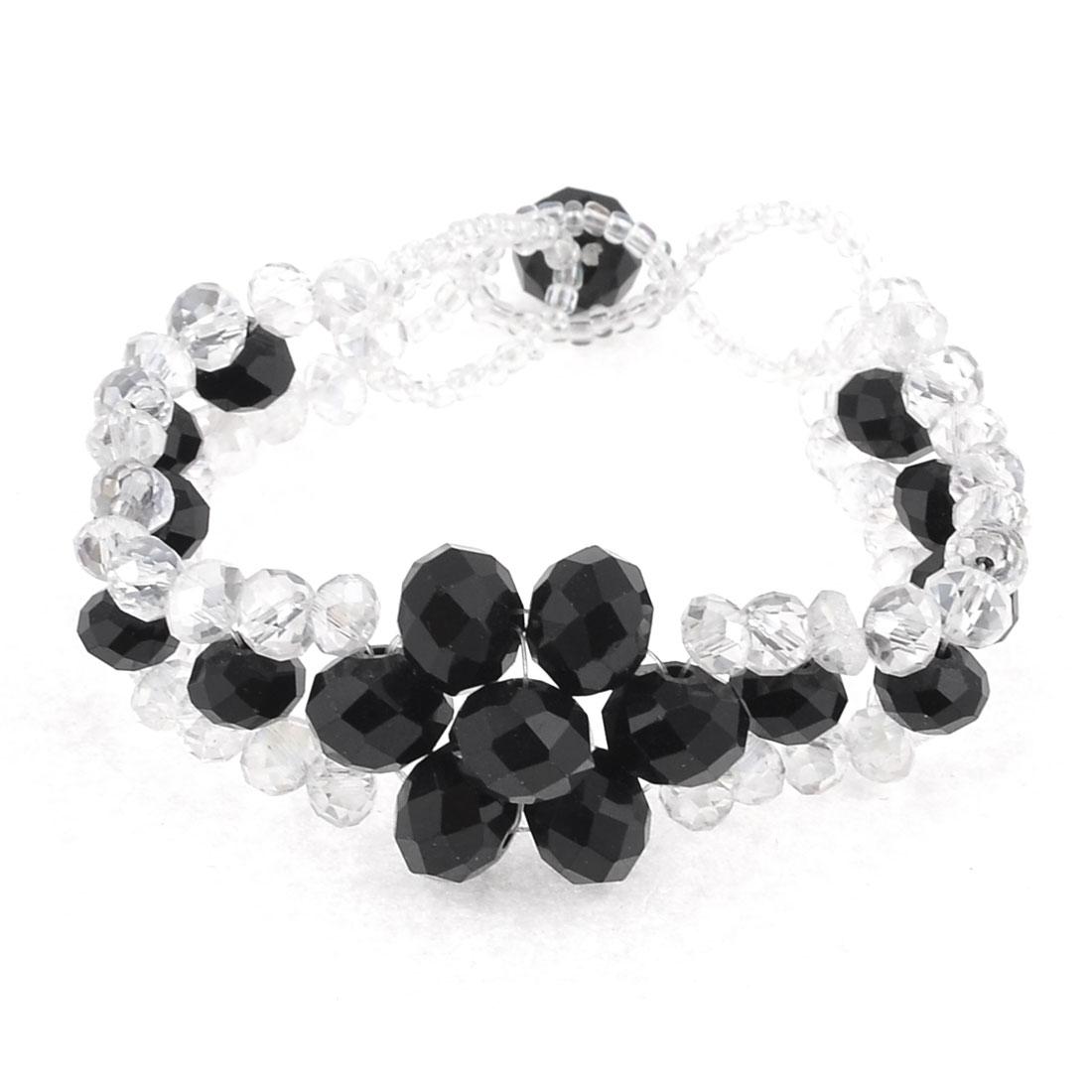 "6.3"" Girth Lady Wrist Ornamet Black Clear Handmade Bracelet"