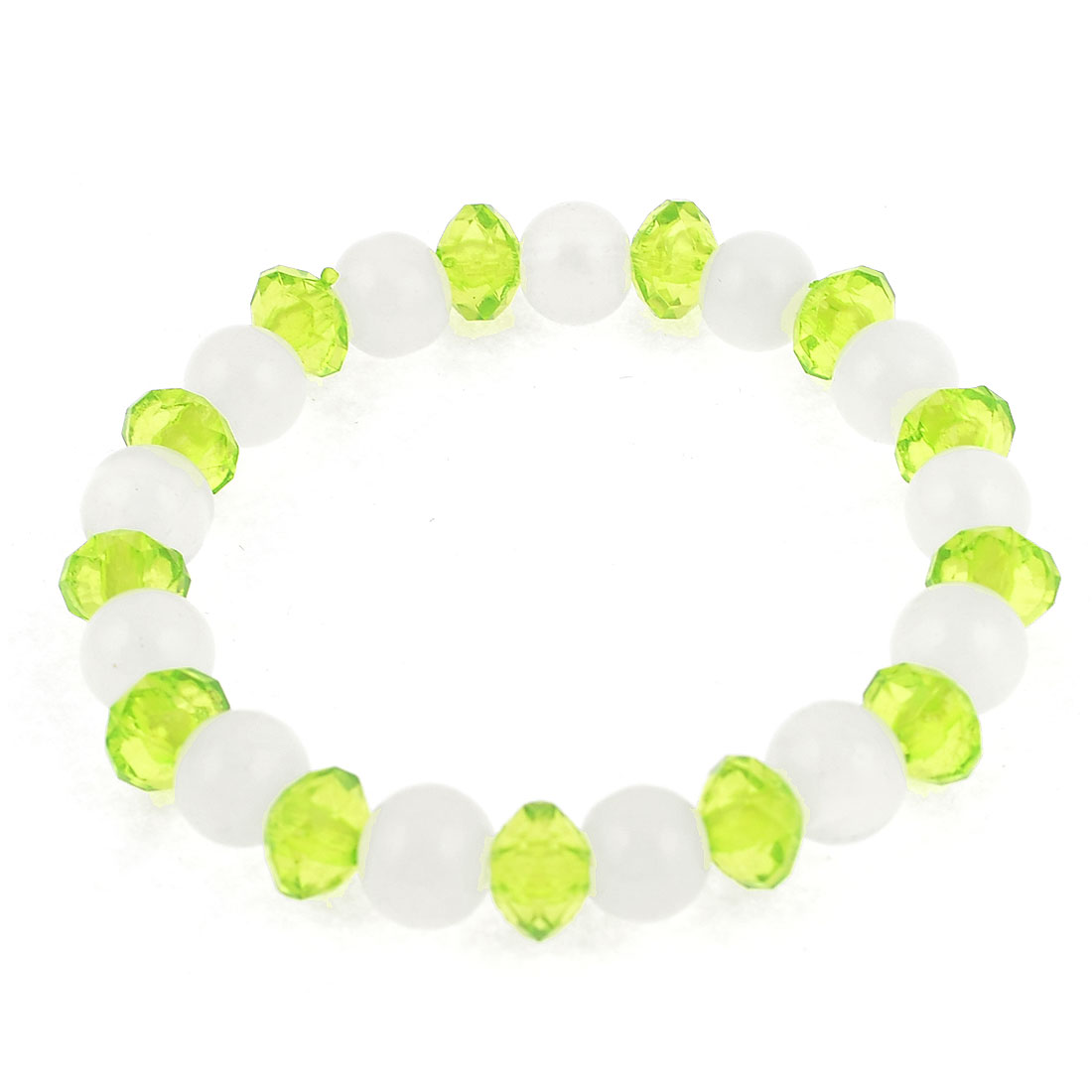 White Green Plastic Crystal Round Bead Stretch Bracelet for Women