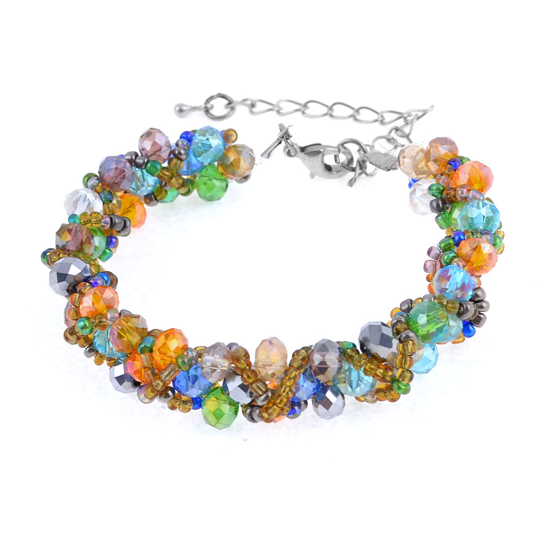 Adjustable Braided Multicolors Plastic Crystal Wristband Bracelet