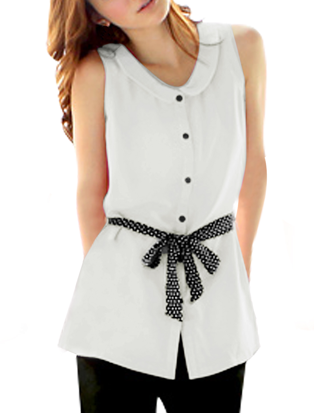 Lady White Sleeveless Doll Collar Button Closure Casual Tunic Top XL