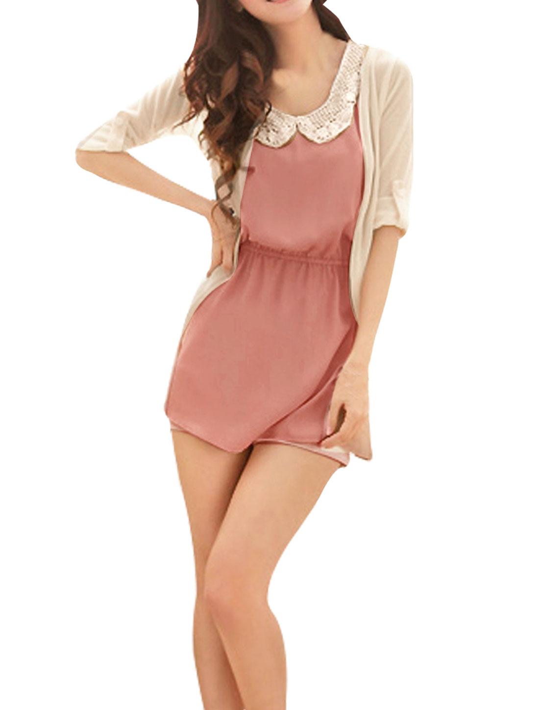 Woman Pink Scoop Neck Elastic Waist Mini Dress w Long Sleeve Beige Cardigan XL