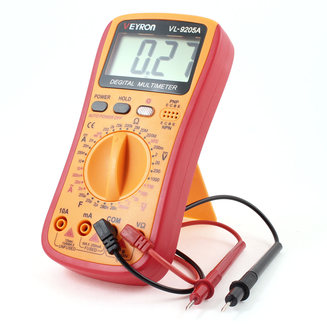 2mA-10A DC Current Voltmeter Ammeter Ohmmeter Digital Multimeter Yellow Red