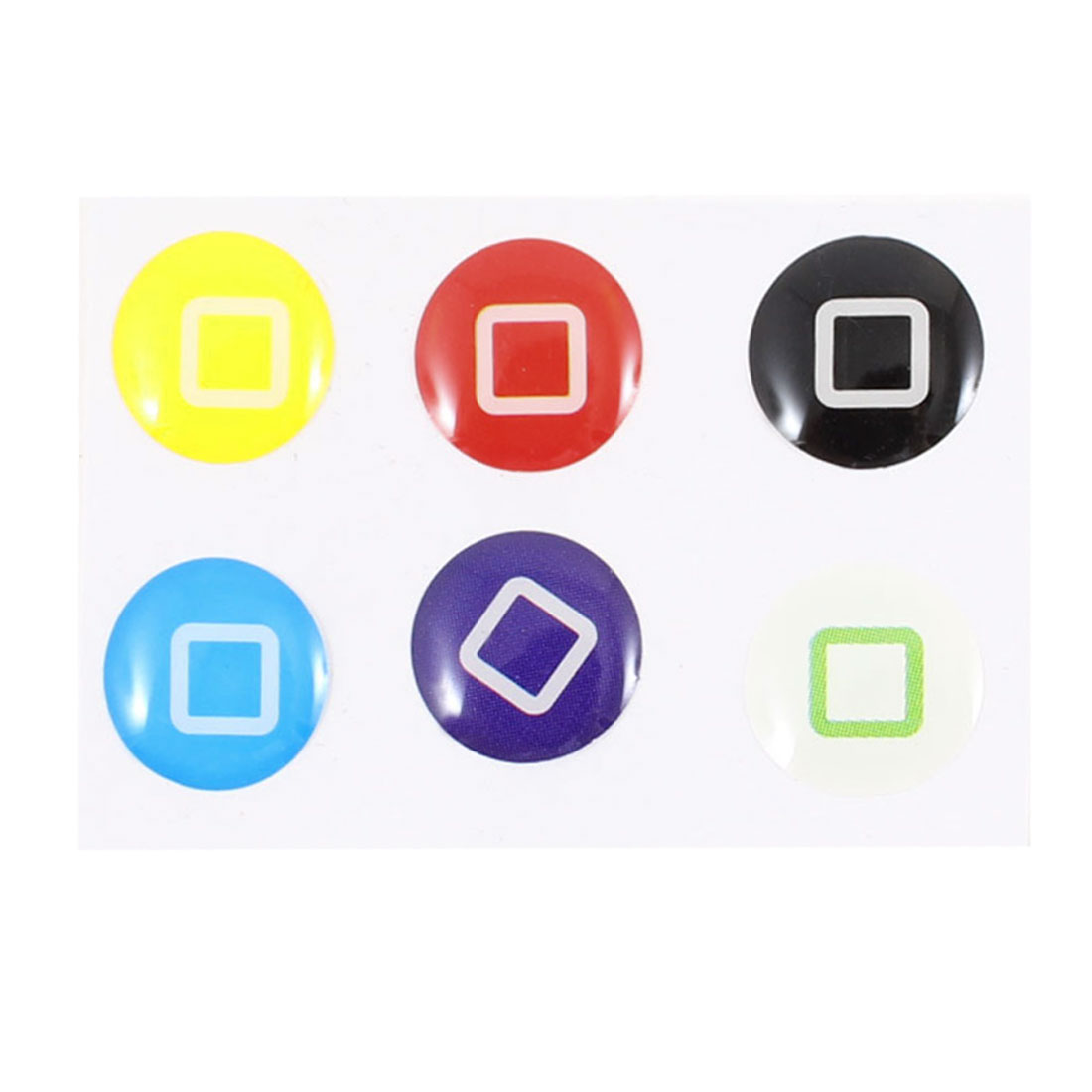 6 x Assorted Color Square Printed Home Button Sticker