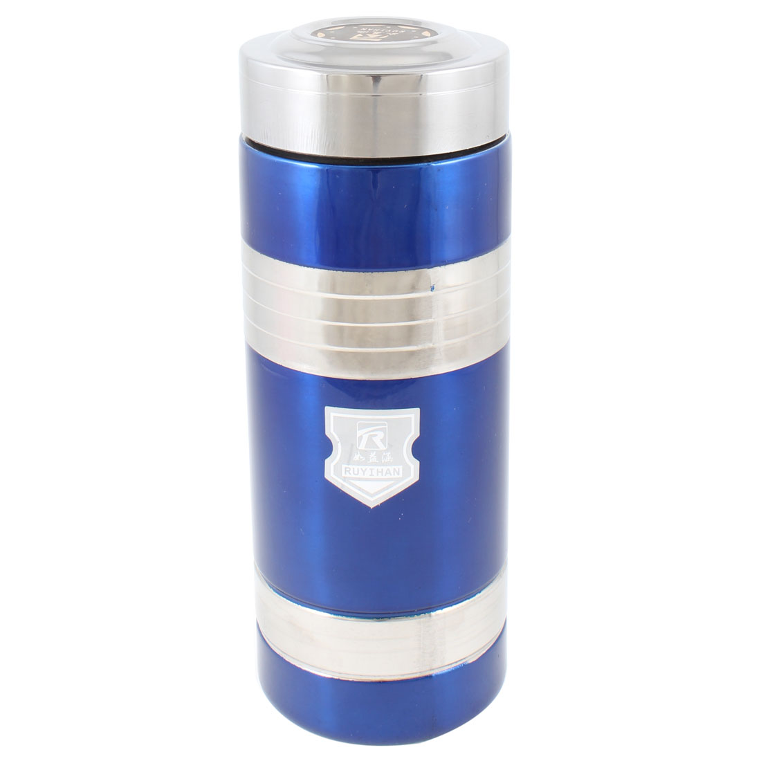 "School Home 7.3"" High 350ml Cylinder Vacuum Flask Bottle Dark Blue Silver Tone"
