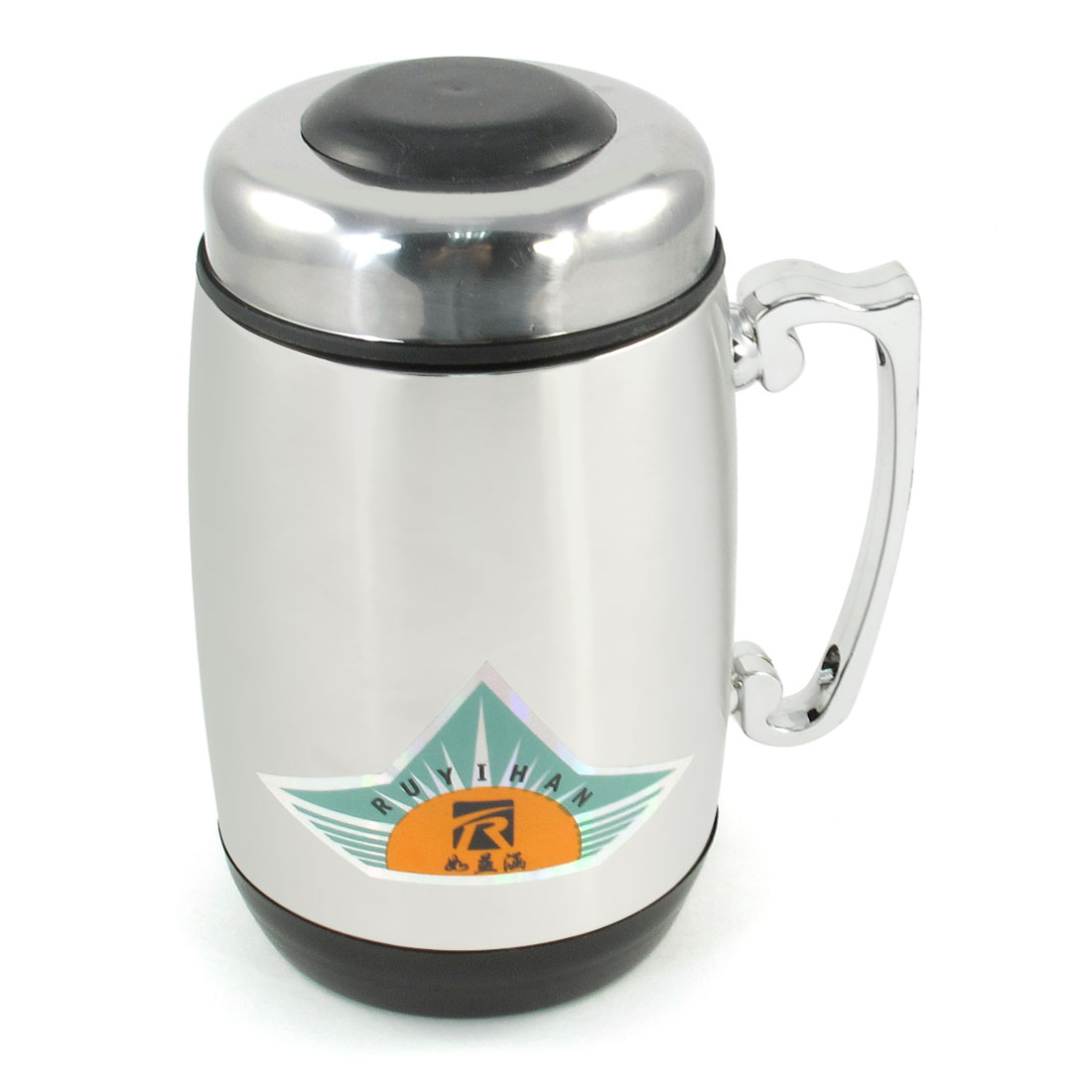 Office Strainer Filter 380ml Coffee Tea Water Drinking Bottle Mug Silver Tone