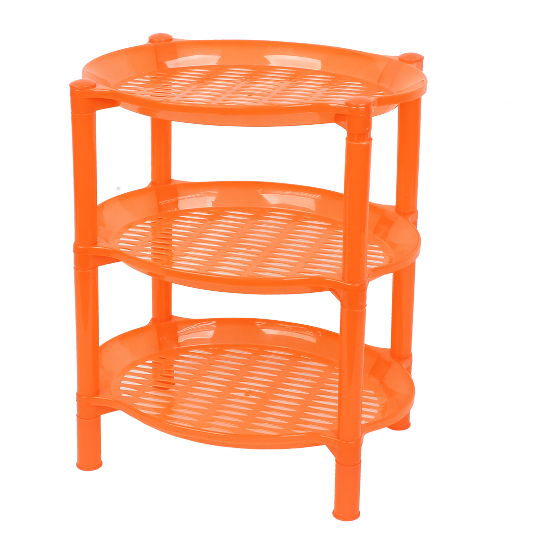 35.5cm High 3 Layers Orange Hollow Out Plastic Bathroom Commodity Storage Rack