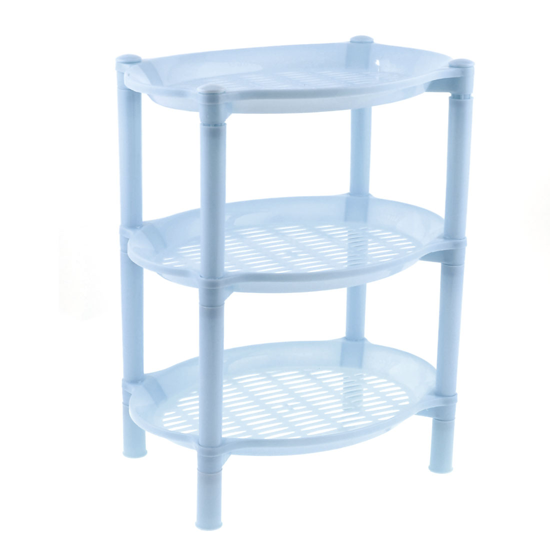 "Table Desk 14"" Height Light Blue Plastic Oval 3 Layers Storage Rack Organizer"