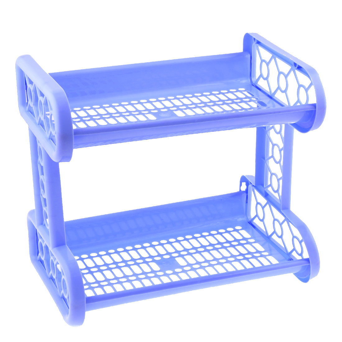 Household 25cm High Dark Blue Plastic Cut Out Dual Layers Shelf Storage Rack
