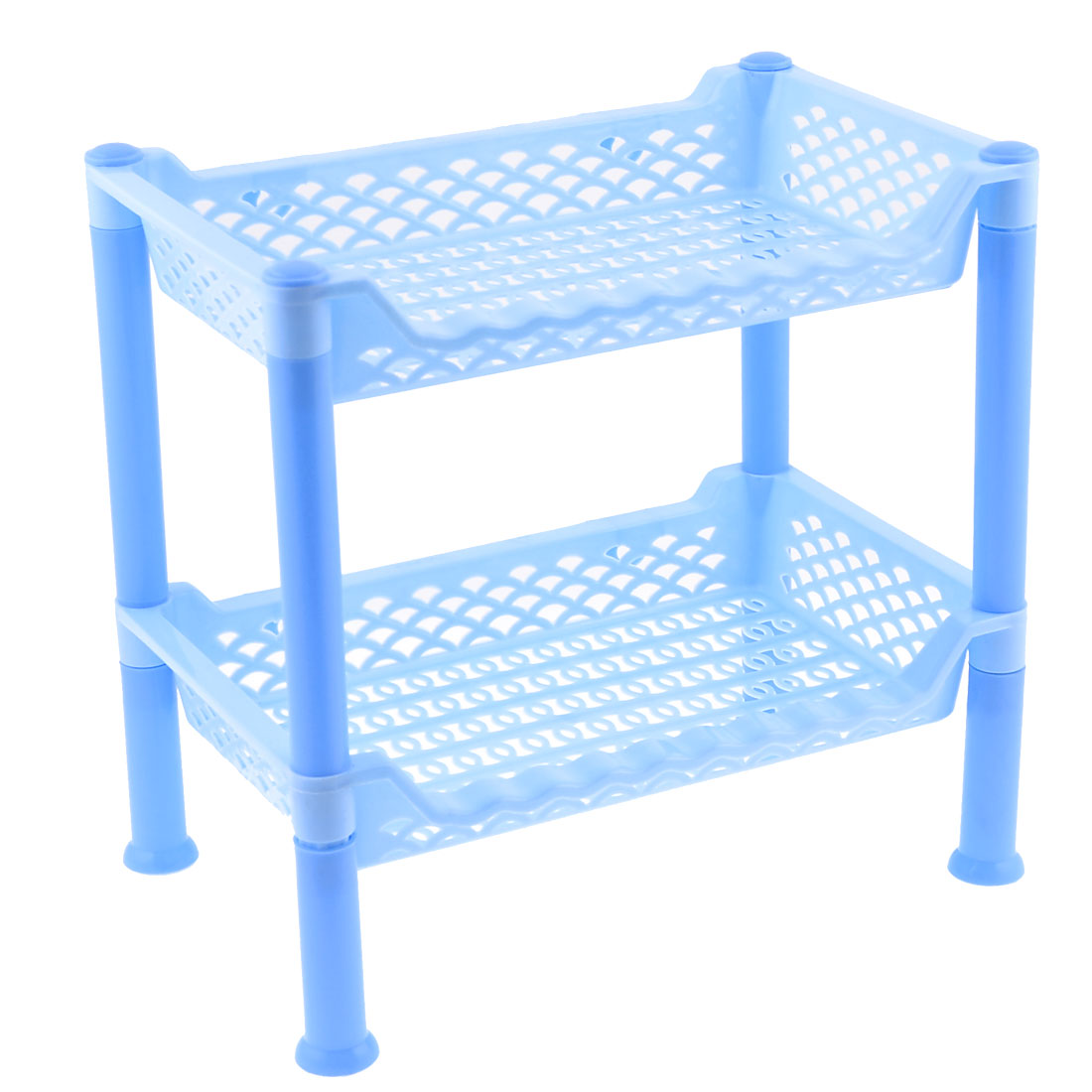 "Household 10.6"" Height Blue Plastic Detachable 2 Layers Storage Rack Organizer"