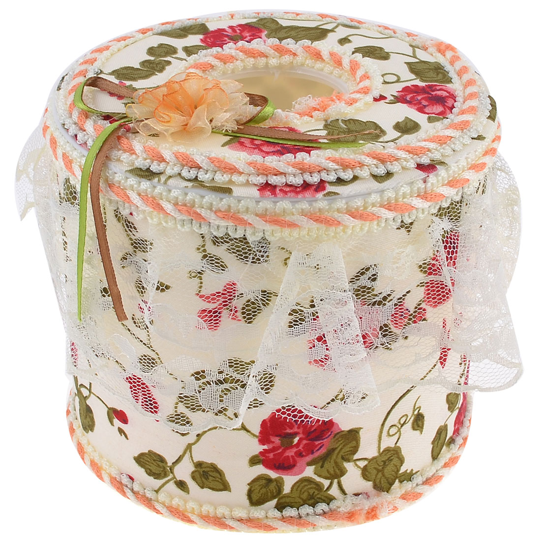 Ribbon Flower Detailing Top Beige Fabric Wrapped Round Tissue Box Container