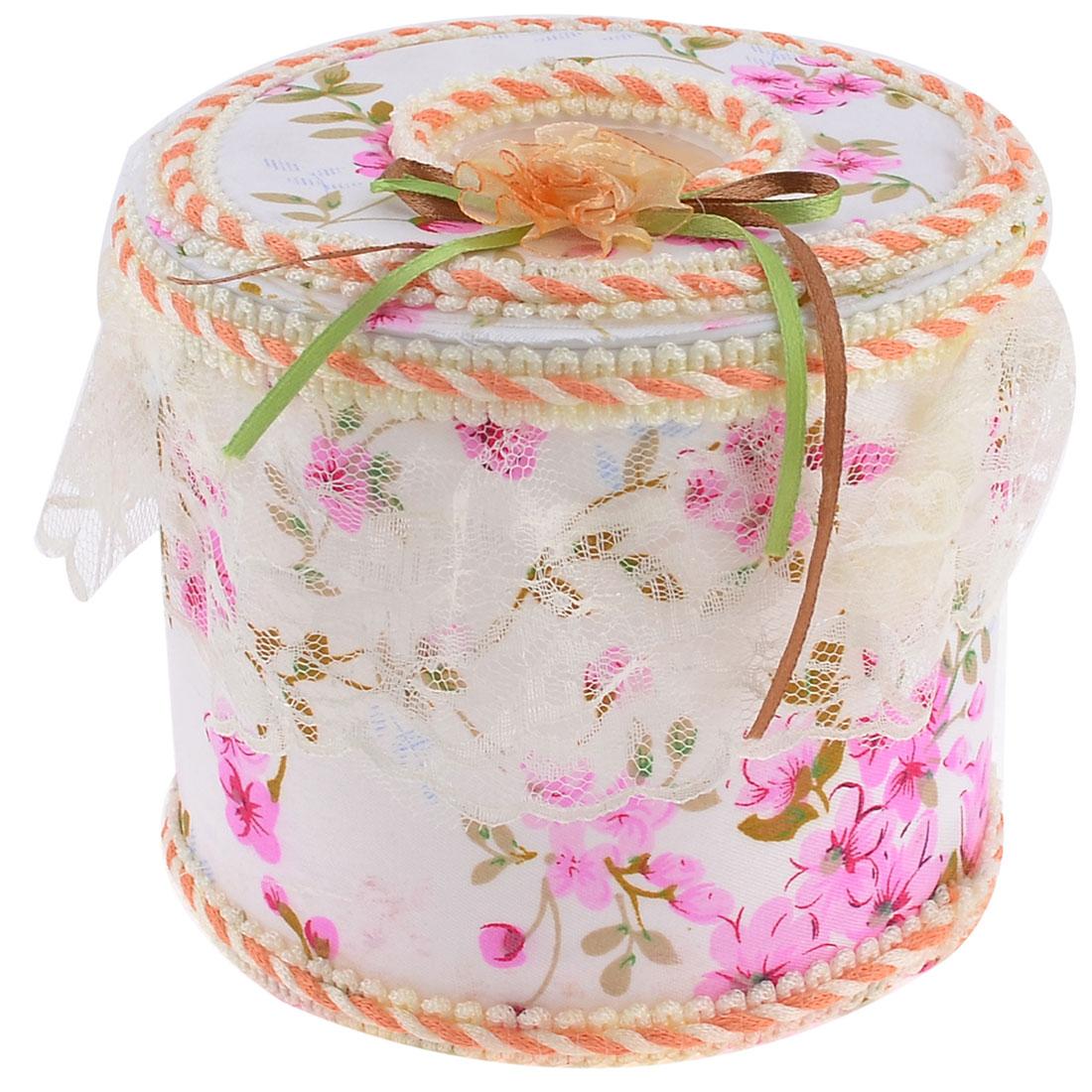 Pink Peach Blossom Print Plastic White Round Frame Tissue Box Holder